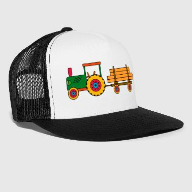 Green Tractor with trailer and logs Toy tractor - Trucker Cap