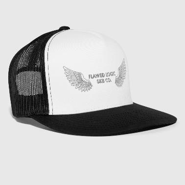 Logic Black Outline Flawed Logic Logo - Trucker Cap