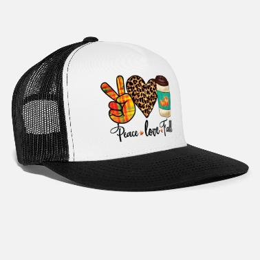 Pretty Peace, Love, Fall Leopard Pumpkin Spice Latte - Trucker Cap