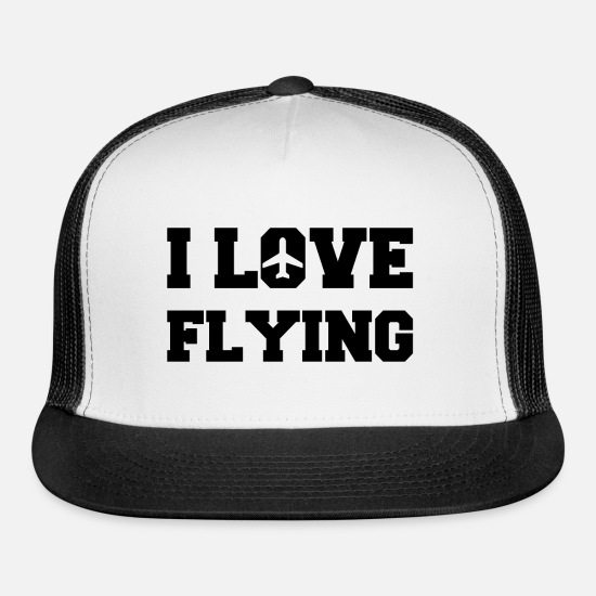 Aviation Caps - I love flying Flight Crew Aviation Job - Trucker Cap white/black