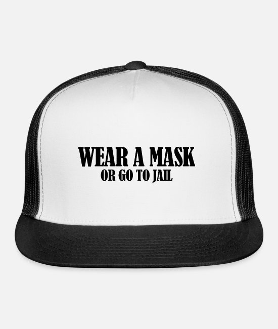 Covid Caps & Hats - Wear a Mask - Trucker Cap white/black