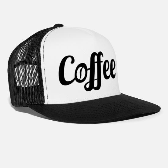 Coffee Caps - Coffee Lettering with Coffee Bean - Trucker Cap white/black