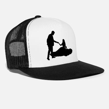 Married Couple Wedding couple marry subject black - Trucker Cap