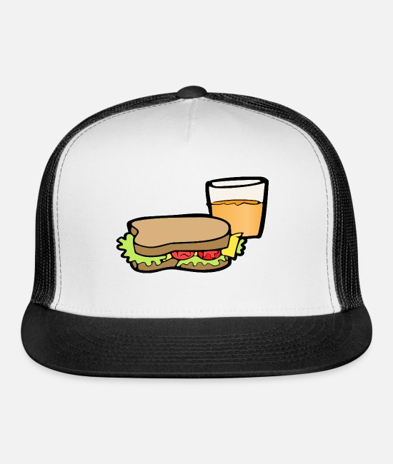 Lettuce Caps & Hats - Sandwich and Drink - Trucker Cap white/black