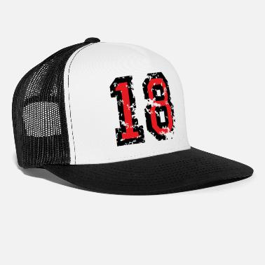 Eighteen Number 18 - 18th Birthday (Distressed Black&White) - Trucker Cap