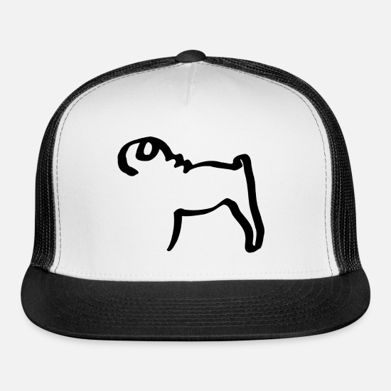 Pug Caps - Line pug - Trucker Cap white/black