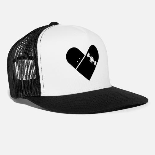 560f23585e85d5 Minimal Skateboard - Heart Logo Design   Icon Trucker Cap