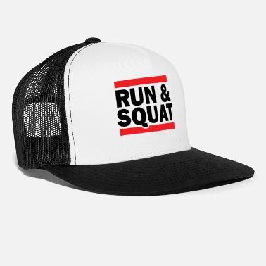 Black Light Run Squat Black on Light - Trucker Cap