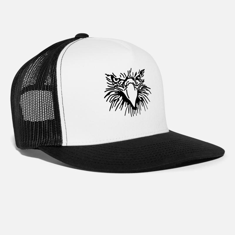 Eagle Caps - Eagle Head,bird illustration, Predator (animal) ✔ - Trucker Cap white/black
