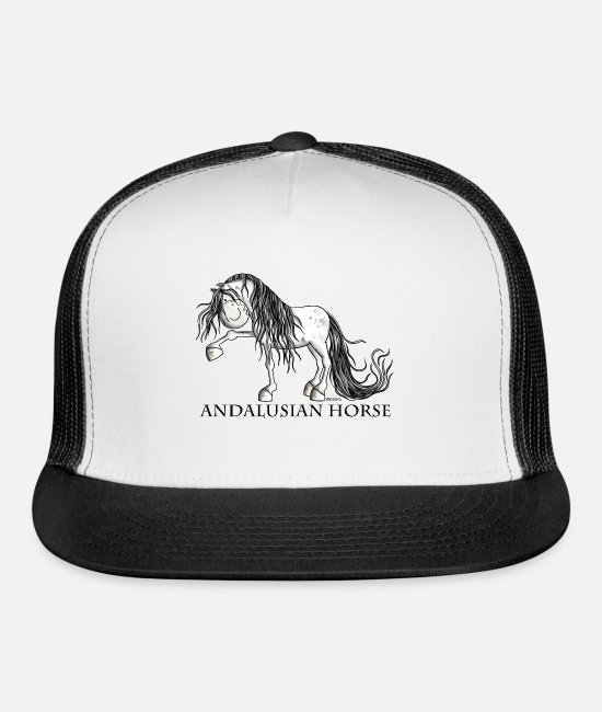 Riding Caps & Hats - Happy Andalusian Horse - Pura Raza - Horses - Gift - Trucker Cap white/black