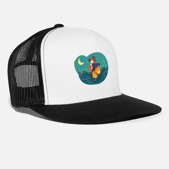 Witches Broom Caps - witch - Trucker Cap white/black