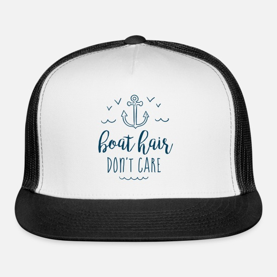 Nautical Caps - Boat Hair, Don't Care - Trucker Cap white/black