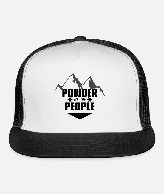 Mountains Caps & Hats - Powder to the people – skiing – snow boarder - Trucker Cap white/black