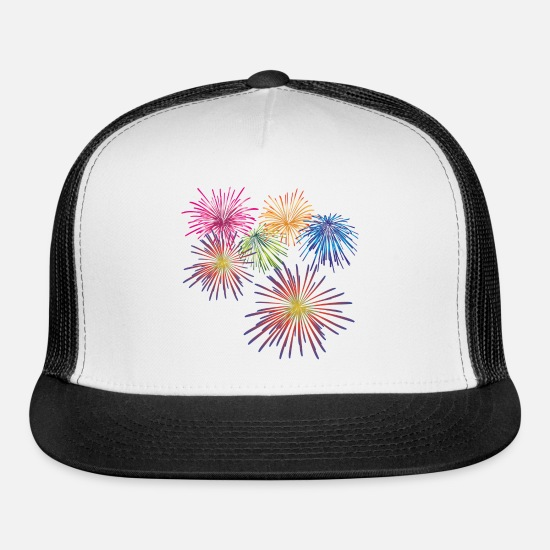 Explosion Caps - Fireworks - 4th of July - Trucker Cap white/black