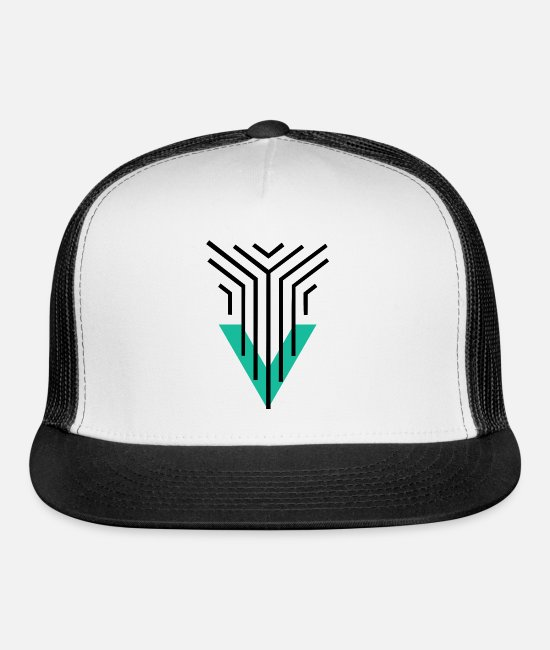 Artist Caps & Hats - Shape Triangle Lines - Trucker Cap white/black