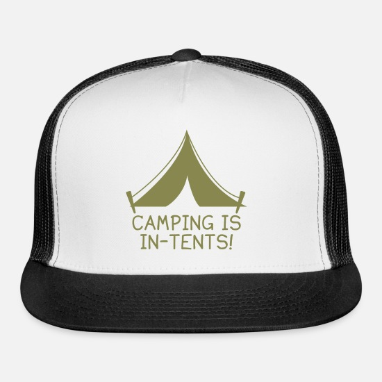 Awesome Caps - Camping Is In-Tents! - Trucker Cap white/black