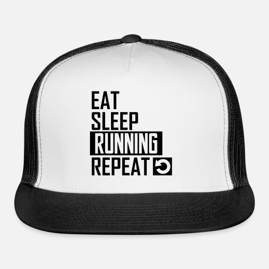 Run Caps - eat sleep running - Trucker Cap white/black