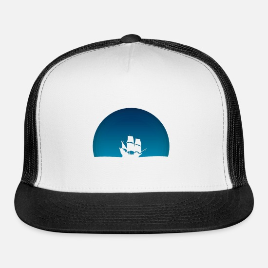 Sky Caps - Ship with blue sky - Trucker Cap white/black