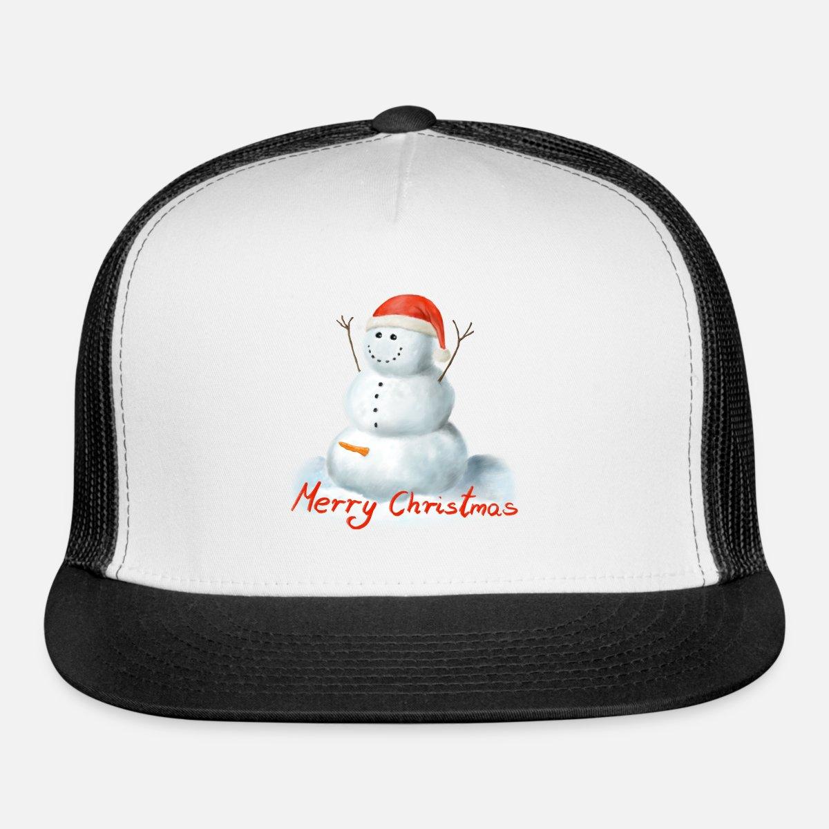 15524ce51 Happy Horny Snowman Santa Hat Merry Christmas Trucker Cap - white/black