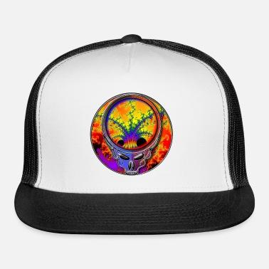 201e6d46dfe Cool Cosmic Fractal in Grateful Dead Style Skull Trucker Cap ...