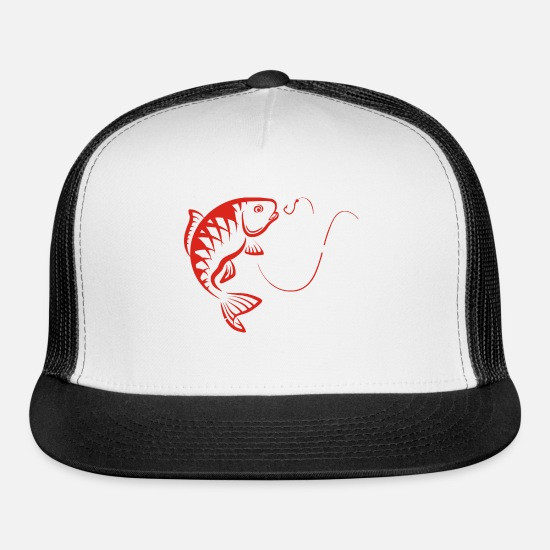 Hooked Caps - carp with a hook - Trucker Cap white/black