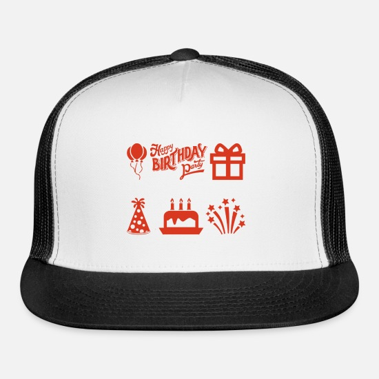 Birthday Caps - Happy Birthday Party - Trucker Cap white/black