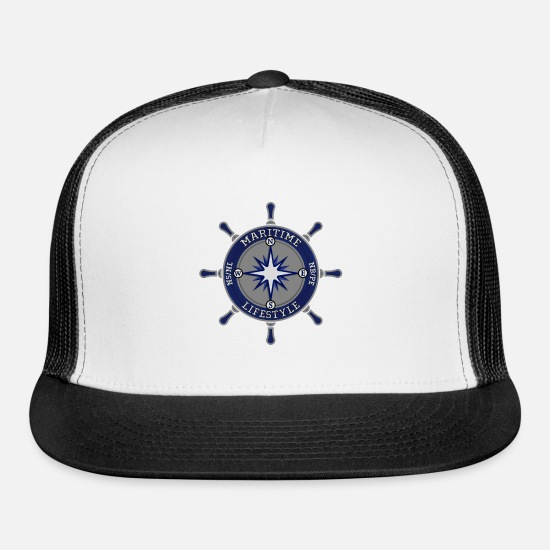 Maritime Caps - Maritime Lifestyle Compass - Trucker Cap white/black