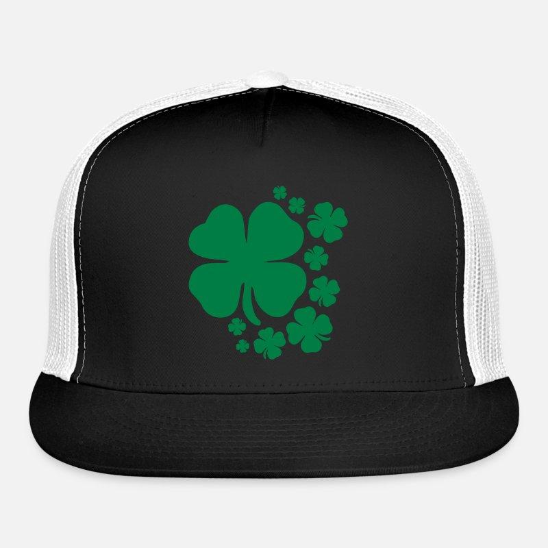 5230bd134 clover st patrick's day lucky charm irish Trucker Cap - black/white