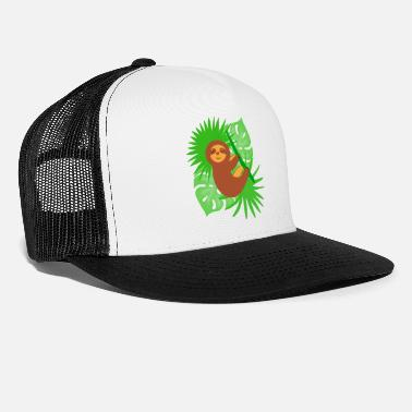 Leaves Sleeping napping lazy sloth Tropical exotic leaves - Trucker Cap