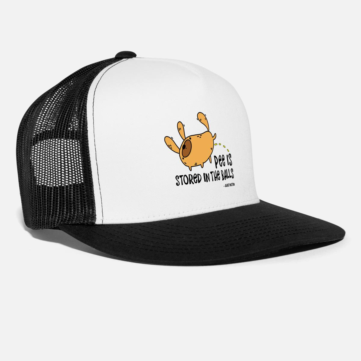 Pee is stored in the Balls. Funny urinating dog. Trucker Cap ... b5099f9131d3