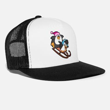 Freerider Penguins Sled Sledge Sleigh Toboggan Snow Winter - Trucker Cap