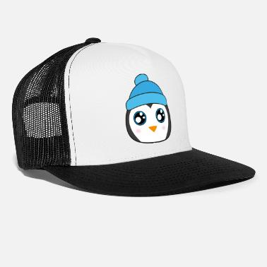 Baby Knit Cute Baby Penguin with Knit Hat and big Eyes - Trucker Cap