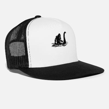 Lochness Bigfoot Riding on Nessie Lochness Monster Yeti - Trucker Cap