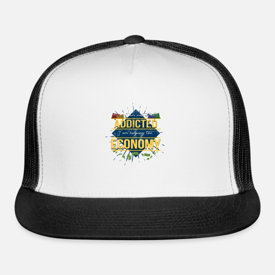 Gift Idea Caps - Shopping Addicted Economy - Trucker Cap white/black