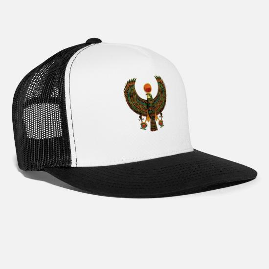Egypt Caps - Horus Ancient Egyptian Falcon Hieroglyph - Trucker Cap white/black