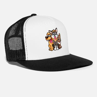 Dog Breed 3 Cute Dogs Puppies Cartoon Happy Animal Present - Trucker Cap