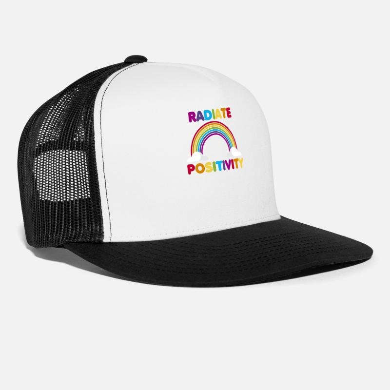 f9d19acc351e4 Gift Idea Caps - Colorful Radiate Positivity Rainbow Inspiration - Trucker  Cap white black