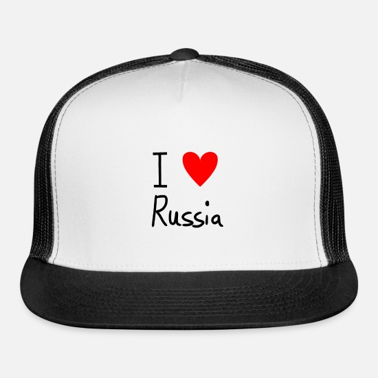 Super Caps - I Love Russia - Trucker Cap white/black