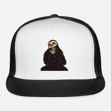 8237e463384 Funny Sloth Chill Gangsta Hustler Ironic Cute Trucker Cap