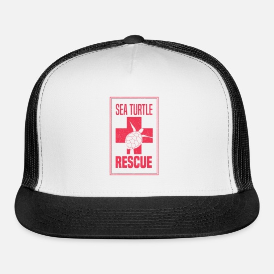 Turtle Caps - Rescue Sea Turtle Gift Rescuers - Trucker Cap white/black