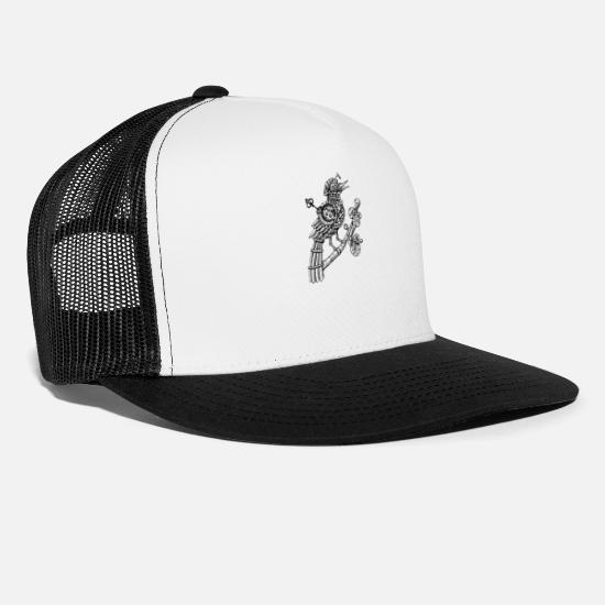 Fantasy Caps - Steampunk Songbird Drawing w/Wind Up Key - Trucker Cap white/black