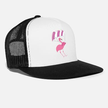 Soaring Cute Pink Flamingo Paragliding Parachute Gift - Trucker Cap