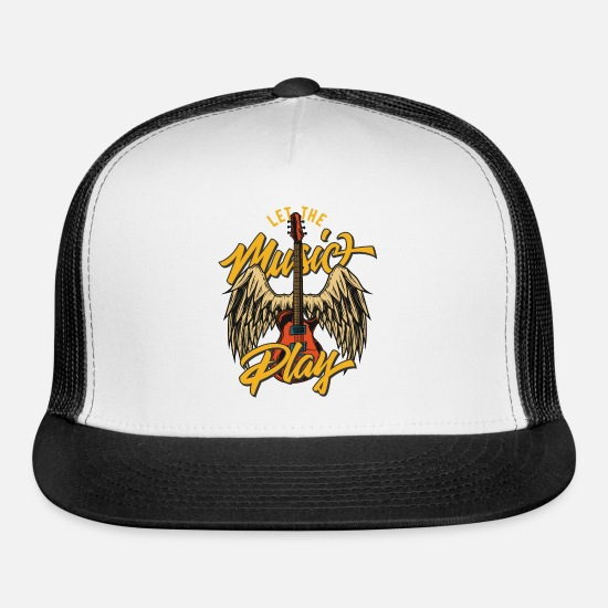 Playing Caps - Let the music play - Trucker Cap white/black