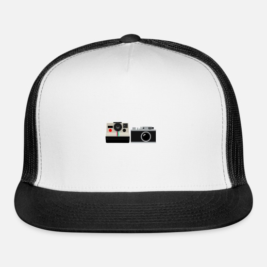 Campfire Caps - Retro Vintage Cameras Old School Style - Trucker Cap white/black