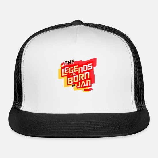 Date Caps - Legends Are Born In Jan - Trucker Cap white/black