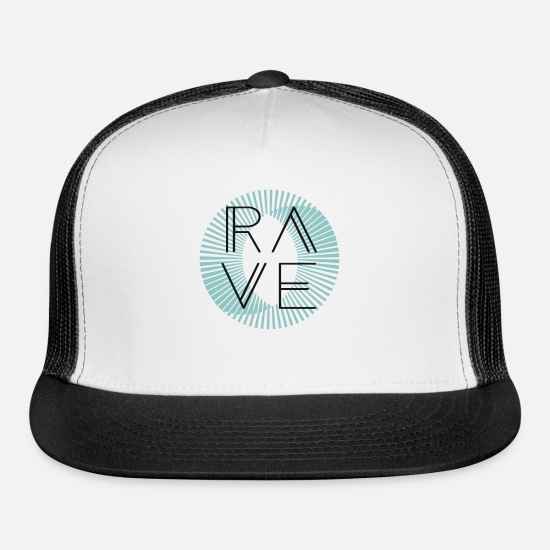 Raven Caps - Festival Rave Techno Trance Electric Clubwear - Trucker Cap white/black