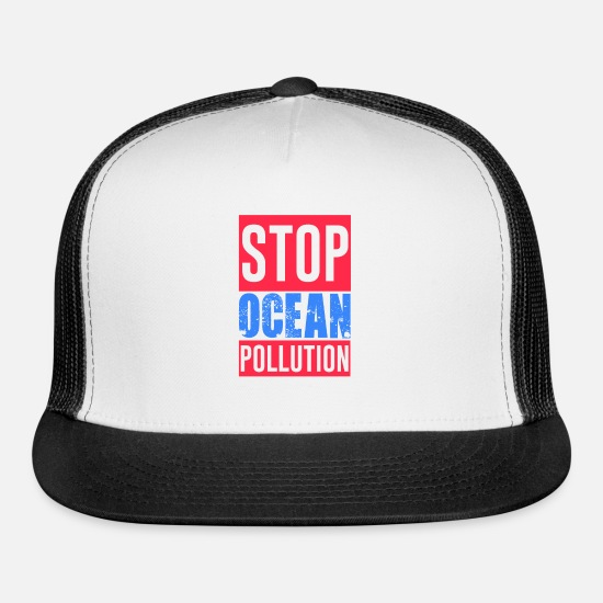 Reduced Caps - Oceans Marine Life Ban Plastic Pollution Save - Trucker Cap white/black