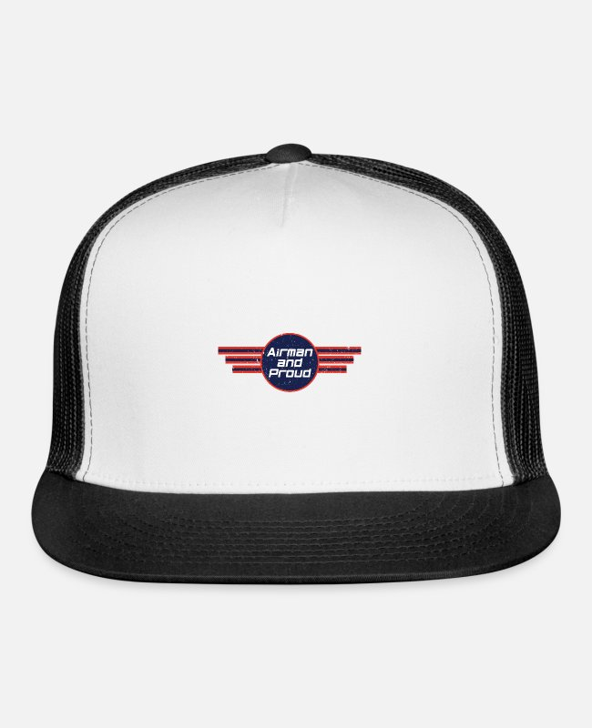 Airforce Caps & Hats - Airman And Proud - Air Force - Trucker Cap white/black