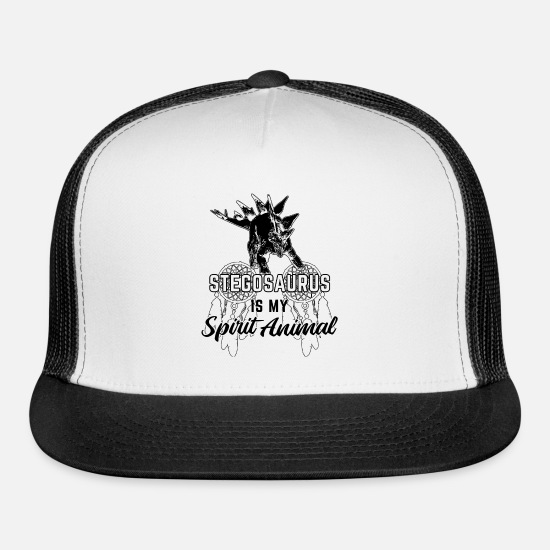 Retro Caps - Stegosaurus Is My Spirit Animal - Trucker Cap white/black