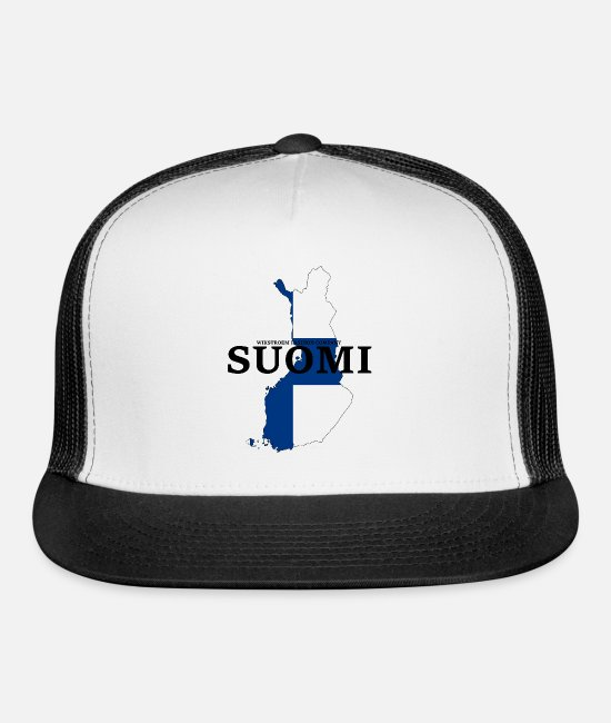 Suomi Caps & Hats - Finland Scandinavia Europe Travel - Trucker Cap white/black